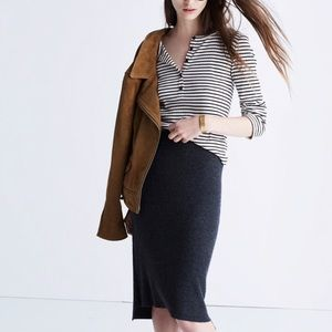 Madewell Rowhouse Wool Knit Pencil Skirt in Gray